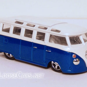 Vintage Volkswagen Microbus: White and Blue Front Right