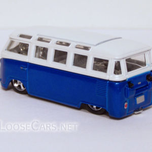 Vintage Volkswagen Microbus: White and Blue Rear