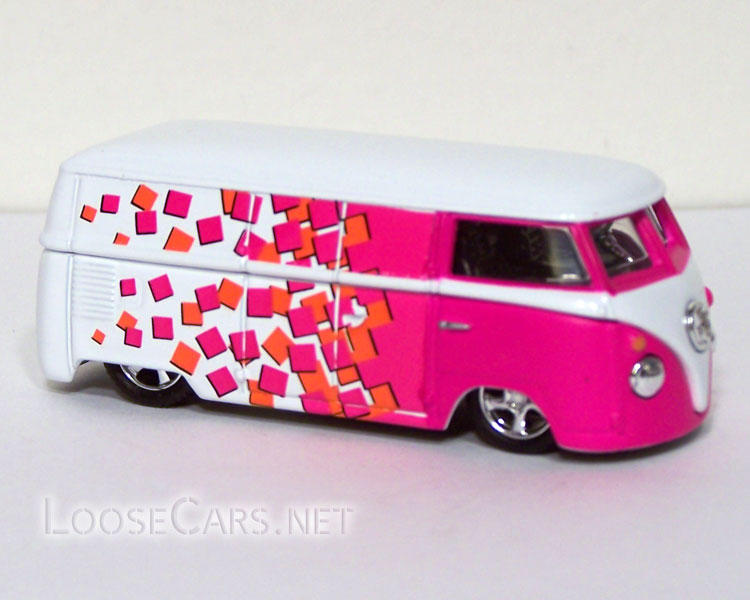 Vintage Volkswagen Microbus: Pink and White Checker Front Right