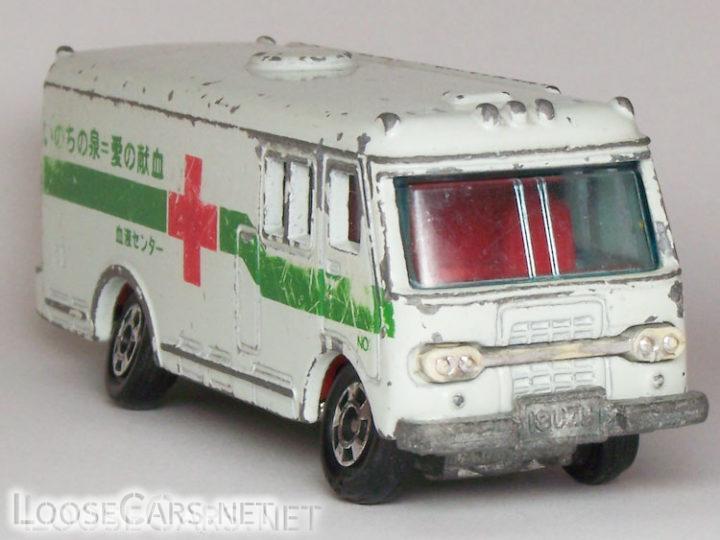 """Tomica Isuzu Bus: 1979 No. 8 """"Isuzu Blood Bank Car"""""""