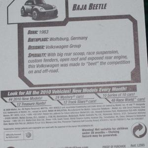 Hot Wheels Baja Bug: 2010 #055 TH Card Rear