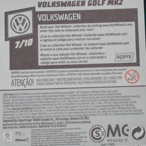 Hot Wheels VW Golf: 2018 #68 (Blue) Card Rear