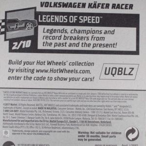 Hot Wheels Volkswagen Käfer Racer: 2018 #2 Blue Card Rear