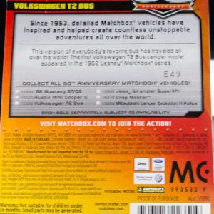Matchbox Volkswagen T2 Bus: 2013 Matchbox 60th Anniversary Card Rear